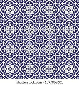 Italian tile pattern vector seamless with vintage floral ornaments. Portugal azulejos, mexican talavera, spanish majolica or delft dutch ceramic. Background for kitchen wallpaper or bathroom floor.