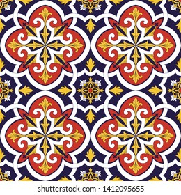 Italian tile pattern vector seamless with flowers motifs. Sicily majolica, portuguese azulejos, mexican talavera, venetian, spanish ceramic. Vintage background for kitchen wall or bathroom floor.