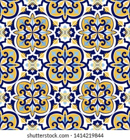 Italian tile pattern vector seamless with flowers motifs. Sicily majolica, portuguese azulejos, mexican talavera, venetian, spanish. Vintage background for kitchen wall or bathroom floor.