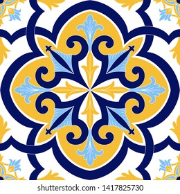 Italian tile pattern vector seamless element with vintage ornament. Portugal azulejos, mexican talavera, sicily majolica or spanish ceramic. Texture for kitchen wall mosaic or bathroom floor.