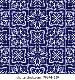 Italian tile pattern vector seamless with floral ornaments. Portuguese azulejo, mexican talavera, spanish majolica or delft dutch. Ceramic texture for mosaic kitchen wall or venetian bathroom floor.