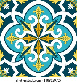 Italian tile pattern vector with vintage ornaments motifs. Sicily majolica print. Portuguese azulejos, mexican talavera, spanish ceramic. Mosaic texture for bathroom floor or kitchen wallpaper.