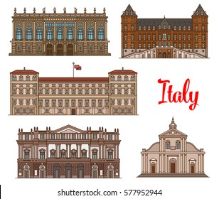 Italian tourist sights linear icon set with Royal Palace of Milan, Castle of Valentino, Roman Catholic Turin Cathedral, Palazzo Madama and Opera House La Scala. Travel, world heritage of Italy design