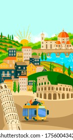 Italian towns bus tours poster, tourism, vacation vector illustration of italians city famous symbols and landmarks. Rome, Venice and Pisa, Florence architecture, culture sightseeings. Tours to Italy.