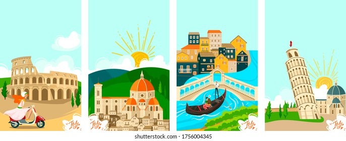 Italian towns travel banners set, tourism on vacation vector illustration of italians city famous landmarks. Rome, Venice and Pisa, Florence architecture and culture sightseeings. Tours to Italy.