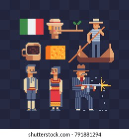 Italian tradition elements. Icons set. 80s style. Pixel art. Theme of Italy. Man and woman characters in national costume. Gangster and gondolier. Stickers design. Isolated vector illustration.
