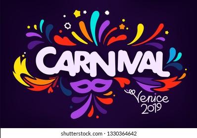 Italian traditional carnival concept. Venice 2019