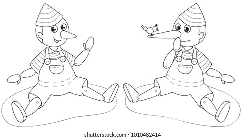 Italian traditional tale Pinocchio with normal nose and big lying nose, black and white vector illustration