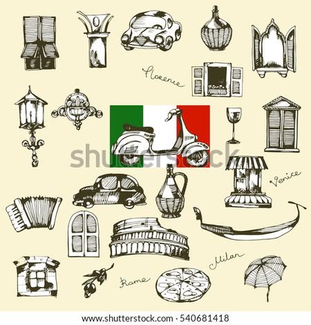 Italian Vintage Travel Elements Scrapbook Stickers Stock Vector