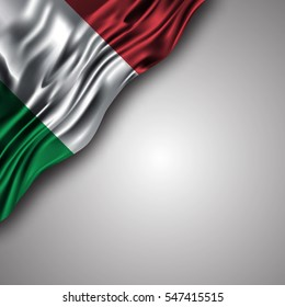 Italian waving silky flag isolated on gray background, can be used in many topic like Italy national day,  independence day and any national and international events