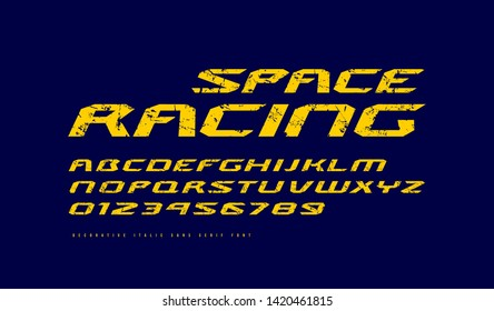 Italic extended sans serif font. Letters and numbers with rough texture for sci-fi, racing and space logo design. Yellow print on dark blue background