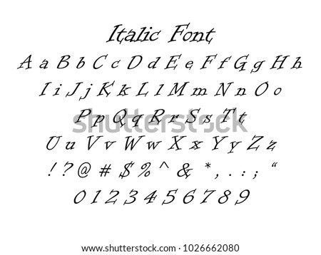 Italic Font Italic Numbers Letters Symbols Stock Vector Royalty