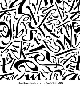 italic letters pattern in black color