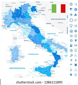 Italy Administrative Divisions Map Blue Colors and Navigation Map Icons - Highly Detailed Vector Illustration of Italy Map