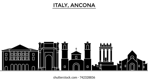 Italy, Ancona architecture vector city skyline, travel cityscape with landmarks, buildings, isolated sights on background