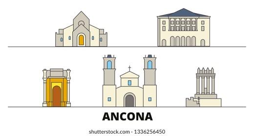 Italy, Ancona flat landmarks vector illustration. Italy, Ancona line city with famous travel sights, skyline, design.