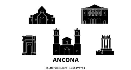 Italy, Ancona flat travel skyline set. Italy, Ancona black city vector illustration, symbol, travel sights, landmarks.