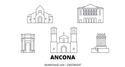 Italy, Ancona line travel skyline set. Italy, Ancona outline city vector illustration, symbol, travel sights, landmarks.