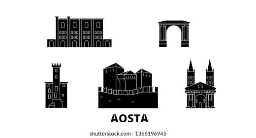 Italy, Aosta flat travel skyline set. Italy, Aosta black city vector illustration, symbol, travel sights, landmarks.