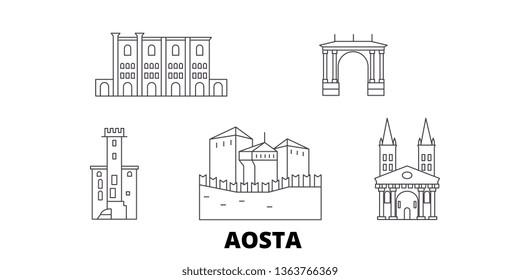 Italy, Aosta line travel skyline set. Italy, Aosta outline city vector illustration, symbol, travel sights, landmarks.