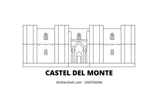 Italy, Apulia, Castel Del Monte line travel skyline set. Italy, Apulia, Castel Del Monte outline city vector illustration, symbol, travel sights, landmarks.