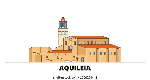 Italy, Aquileia  flat landmarks vector illustration. Italy, Aquileia  line city with famous travel sights, skyline, design.