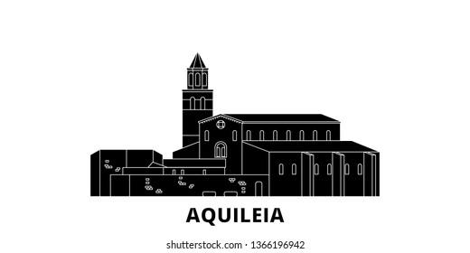 Italy, Aquileia  flat travel skyline set. Italy, Aquileia  black city vector illustration, symbol, travel sights, landmarks.