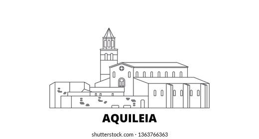 Italy, Aquileia  line travel skyline set. Italy, Aquileia  outline city vector illustration, symbol, travel sights, landmarks.