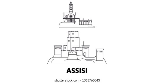 Italy, Assisi line travel skyline set. Italy, Assisi outline city vector illustration, symbol, travel sights, landmarks.