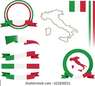 Italy Banner Set. Vector graphic flags, banners and ribbons of Italy.