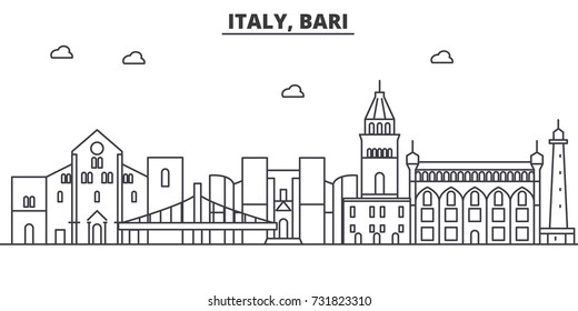 Italy, Bari architecture line skyline illustration. Linear vector cityscape with famous landmarks, city sights, design icons. Landscape wtih editable strokes