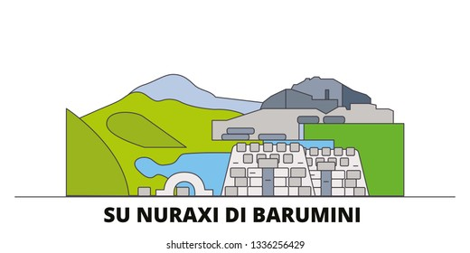 Italy, Barumini, Su Nuraxi Di Barumini  flat landmarks vector illustration. Italy, Barumini, Su Nuraxi Di Barumini  line city with famous travel sights, skyline, design.