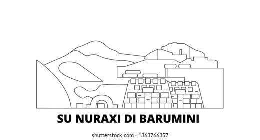 Italy, Barumini, Su Nuraxi Di Barumini  line travel skyline set. Italy, Barumini, Su Nuraxi Di Barumini  outline city vector illustration, symbol, travel sights, landmarks.