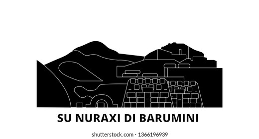 Italy, Barumini, Su Nuraxi Di Barumini  flat travel skyline set. Italy, Barumini, Su Nuraxi Di Barumini  black city vector illustration, symbol, travel sights, landmarks.