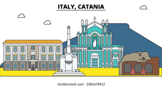 Italy, Catania. City skyline, architecture, buildings, streets, silhouette, landscape, panorama, landmarks. Editable strokes. Flat design line vector illustration concept. Isolated icons