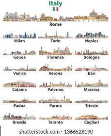Italien Städte hohe detaillierte Skylines einzeln auf weißem Hintergrund. Vektorgrafik