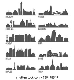 Italy Cities Most Famous Skyline City Silhouette Design Collection Set Pack