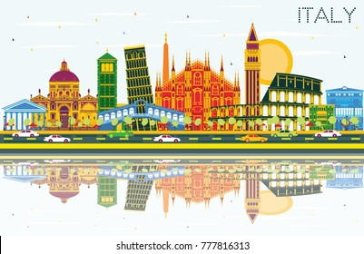Italy City Skyline with Color Landmarks and Reflections. Vector Illustration. Business Travel and Tourism Concept with Historic Architecture. Image for Presentation Banner Placard and Web Site.