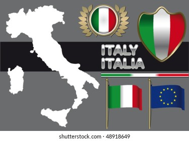 Italy contour and flag