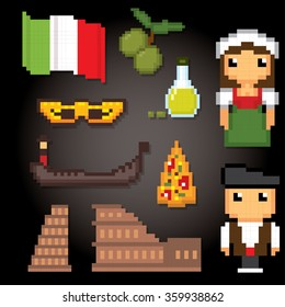 Italy culture symbols icons set. Pixel art. Old school computer graphic style.