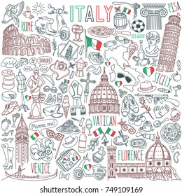 Italy doodle set. Famous landmarks and traditional Italian symbols - architecture, cuisine, Venice carnival. Objects isolated on white background.