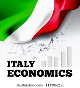 Italy economics vector illustration with italian flag and business chart, bar chart stock numbers bull market, uptrend line graph symbolizes the growth