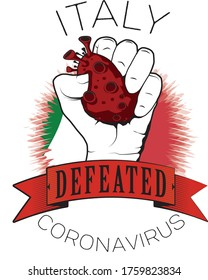 italy europe coronavirus win defeated color flag fist vector illustrator printable template full quality