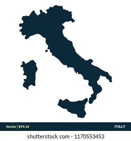 Italy - Europe Countries Map Vector Icon Template