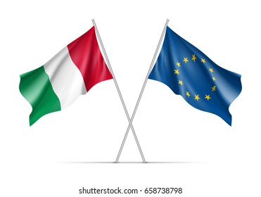 Italy and European Union waving flags on flagpole. EU sign with twelve gold stars on blue and Italy national symbol green, white and red colors. Two flags isolated on white background