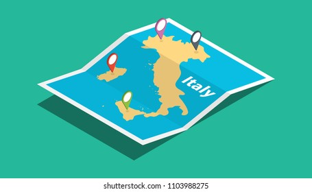 italy explore maps with isometric style and pin location tag on top vector illustration