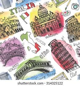 Italy famous landmark,Watercolor textured splash seamless pattern.Vintage Hand drawn doodle art sketchy.Italian travel,hello.Coliseum,Vatican,bridges of Venice,tower of Pisa.Vector wallpaper