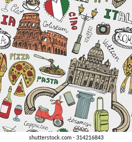 Italy famous Rome landmark seamless pattern.Vintage Hand drawn doodle art sketchy.Italian Rome,travel,hello.Coliseum,Vatican,food,pizza,icon symbols.Colored Vector background