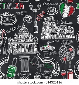 Italy famous Rome landmark seamless pattern.Italy Vintage vector Hand drawn doodle art sketchy background.Italian travel,hello.Rome Coliseum,Vatican,food,symbols icon .Italy Isolated Vector.Chalkboard
