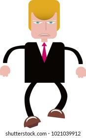 Italy, February 09, Donald Trump character illustration, cartoon style